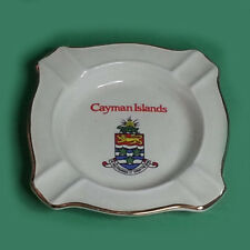 "Cayman Islands Royal Falcon Ironstone Cigar Ashtray Gold Trim Square 4"" x 4"""