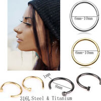 5/10pc Surgical Steel Lip Nose Ring Hoop Cartilage Septum Body Piercing Jewelry
