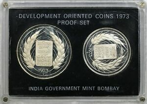1973 Republic of India Proof Silver Development Oriented Coin Set 10 & 20 Rupees