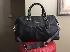 Coach F15447 Ashley BLACK Leather LRG purse Satchel handbag satchel convertible