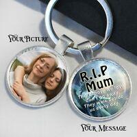 Personalised memorial gift keepsakes RIP Mum, Dad Granda, Nana keyring photo msg