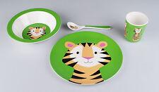 Kindergeschirr Frühstücks-Set mit freundlichem Tiger, Melamin, 4-teilig