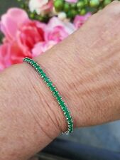 Natural Columbian Emerald Cinch Tennis Bracelet, Rhodium/Silver, 6-9.5