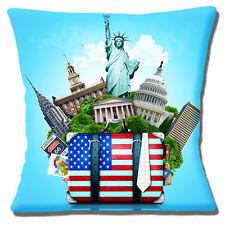 American USA icônes Housse de coussin 16x16 pouces 40 cm statue de la liberté maison blanche