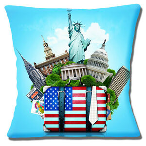 American USA Icons Cushion Cover 16x16 inch 40cm Statue of Liberty White House