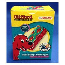 """Clifford The Red Big Red Dog Stat Strip Bandages, 100/Box 3/4"""" x 3. NEW"""