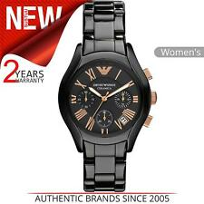 Emporio Armani Ceramic Chronograph Black Dial Ladies Watch AR1411