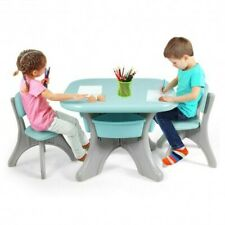 Children Kids Activity Table & Chair Set Play Furniture W/Storage-Blue - Color: