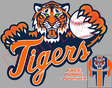 """Detroit Tigers MLB 9"""" Car Boat Window Cling Sticker Decal Tigers DT2 +Punisher"""