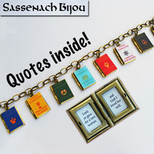 LAST ONE Outlander Series Book Locket Charm Bracelet (quotes inside)