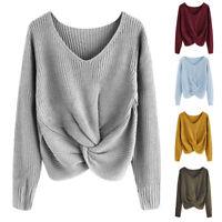 Mode Damen Sweater Strickpullover Sweatshirt Pulli Bluse Pullover V-Ausschnitt