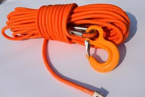 Orange 1/2inch*100ft UHMWPE core with UHMWPE jacket,Synthetic Winch Cable Rope