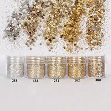 Fashion Mixed Nail Art Glitter Powder Champagne Gold Silver Sequins Makeup Set