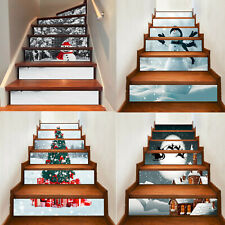 6Pcs 3D Christmas Stair Riser Decals Wall Stickers Mural Wallpaper Self Adhesive