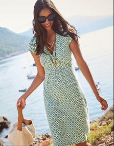 Boden Petite Green Geometric Print Stretch Jersey Day Dress Size 6