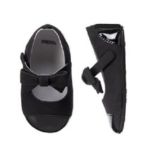 Gymboree Black Velvet Dress Crib Shoes with Bow for Babies Size 01