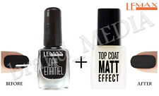 Lemax-Top Coat Efecto Mate Esmalte Endurecedor Negro + Esmalte De Uñas 9ml + 9ml