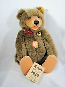 """STEIFF Replica of 1930 Teddy Baby Jointed Brown Bear 0175/35 Red Collar 13"""""""