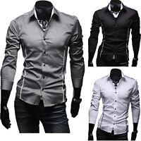 Herren Freizeit Slim Fit Hemd Hemden Langarm Bügelleicht Business Hochzeit Shirt