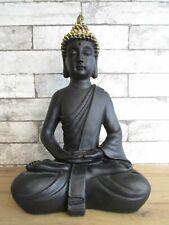 Buddha schwarz sitzend 40 cm Poly Figur XL Buddhismus Asien Mönch