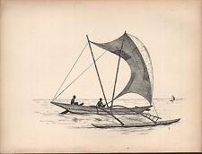 1936 SAILING SHIP PRINT ~ AN OUTRIGGER CANOE FROM CEYLON