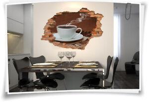 3D Wand-Bild Wand-Tattoo Wand-Aufkleber Kaffee-Tasse Kaffee-Bohnen Braun Weiß