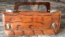 Gorgeous Genuine Snake Skin Brown Clutch Dress Purse