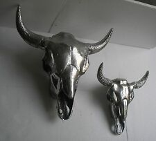 Artificial LARGE Wall Mounted Metal Bull Head Set of 2 Pieces SKULL Taxidermy,