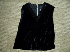 Vtg Ladies Black Crushed Velvet, Beads / Hanging Beaded Shirt / Top, Size Medium