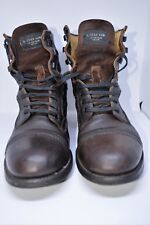 G Star Raw Men Leather Military Style Boots, Brown Size 9