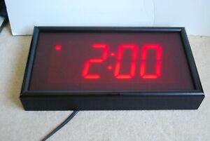 "Big 4""x2"" Digit Digital Wall Clock Large LED Display School Office Vintage"