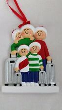 Personalized Family Five 5 Traveling Vacation Christmas Tree Ornament Gift