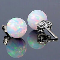 925 Silver Round Fire Opal Stud earrings Wedding Birthstone Jewelry