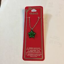 CLAIRE'S CHRISTMAS Necklace 1  Gift Bow Green On Gold Chain  NWT