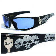 MEN BLUE LENS GANGSTER BLACK OG SUNGLASSES LOCS BIKER SKULL PATTERN ON THE ARMS