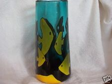 ART GLASS Hand Blown Vase yellow FISH by Greg Dietrick