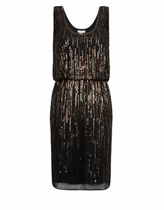 MONSOON Dress ELIZE uk 10 Black Sequin Party Cocktail Occasion BNWT Prom