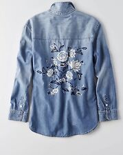 NWT AEO FLORAL EMBROIDERED DENIM SHIRT VTG STYLE Utility Long Sleeve L