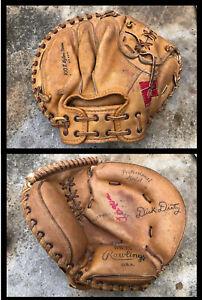 Vtg 1960s Dick Dietz Rawlings Baseball Catchers Mitt Glove Pro Model DB25