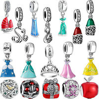 Princess CZ European Charms Pendant Bead Fit 925 sterling Silver Bracelet Chain