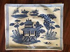 Set Of 12 Vintage Manuel Canovas Paris Blue Willow Chinoiserie Cotton Placemats
