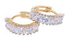 Gorgeous Gold Plated Ear Hugging Hoop Earring with Austrian Crystals Lever Back