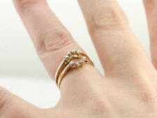 14K Real Yellow Gold 0.16 Ct Diamond Solitaire Enhancer Wrap Engagement Ring