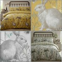 RABBIT MEADOW Animal Ochre Mustard Check Duvet Cover Quilt Cover Set Bedding