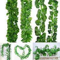 6.56ft Ivy Leaf Garland Green Plant Plastic Vine Foliage Home Garden Decoration