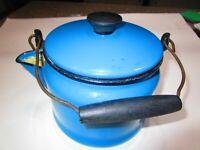 Vtg Blue Enamel Tea Kettle Pot Black Wood Handle and Black Knob Great condition