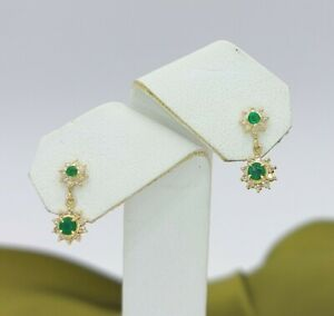 Ladies 18ct Yellow Gold (750,18K) Emerald and Diamond Star Dangle Stud Earrings