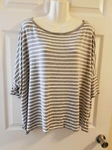 Michael Kors Blouse Womens Size Large Brown And White Striped Top