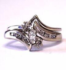 14k white gold SI2 H .22ct marquise diamond engagement ring wedding band 5.1g