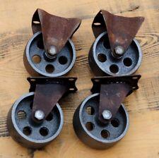4 Gussräder 75 mm Möbel Lenk-/Bock-Rollen Metall Retro Vintage Industriedesign .